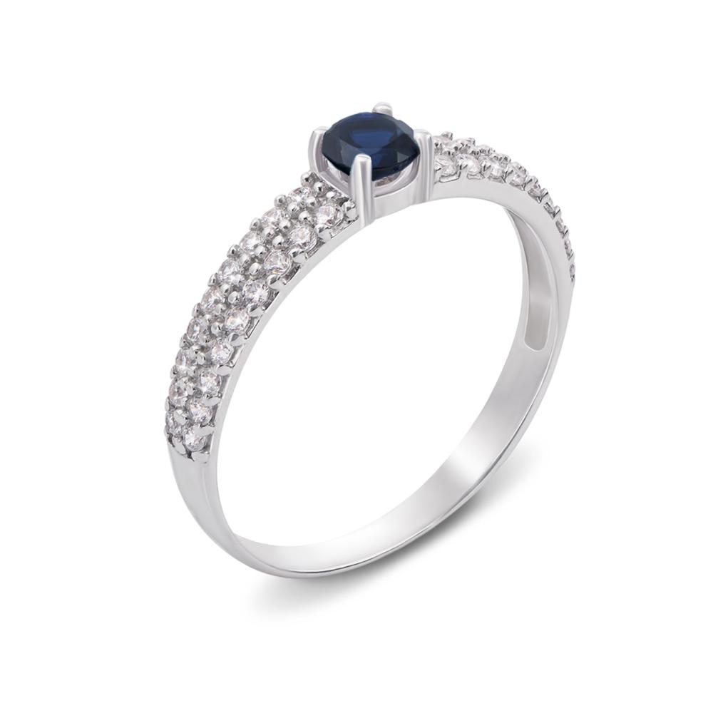 Серебряное кольцо с гидротермальным сапфиром и фианитами. Артикул 1637/9р