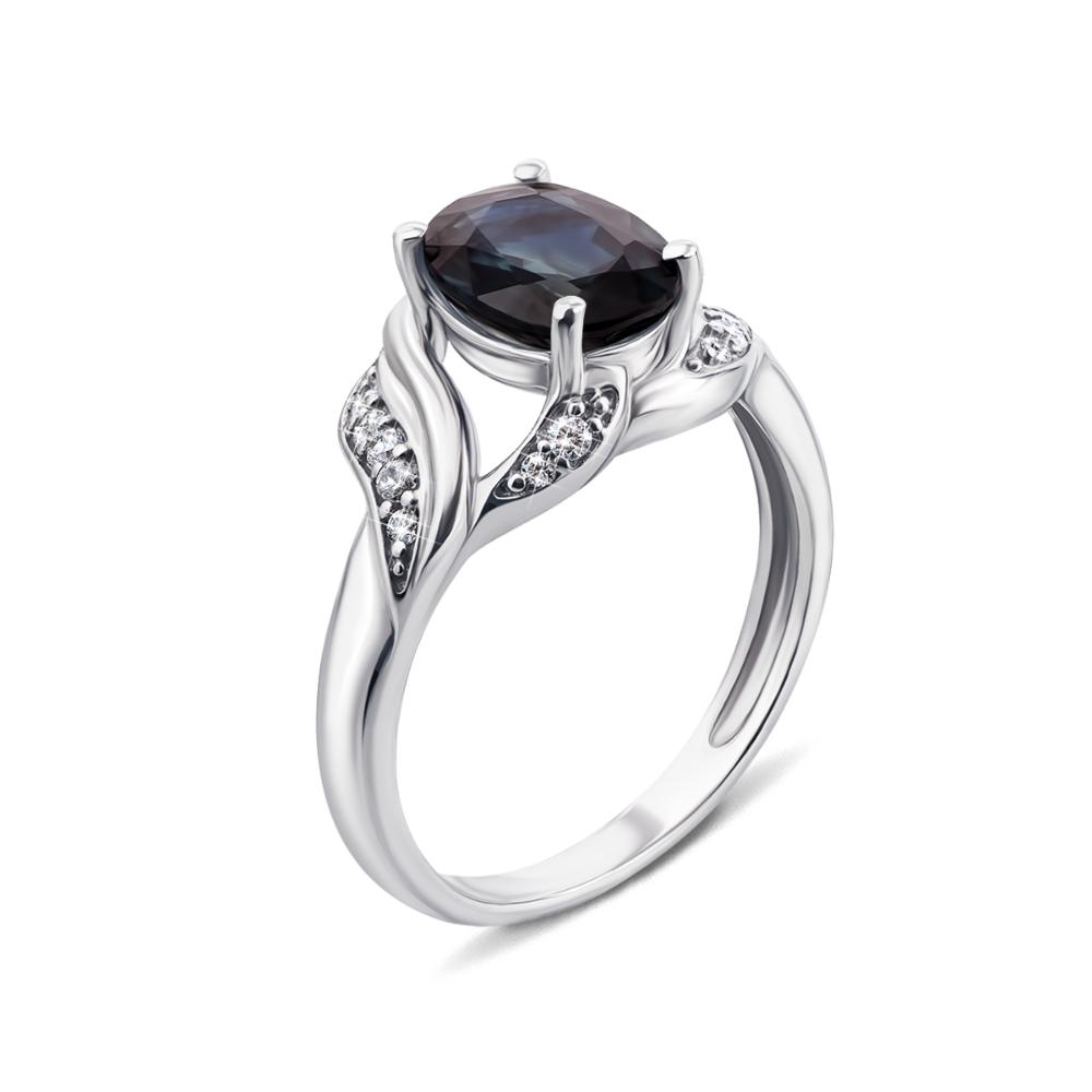 Серебряное кольцо с гидротермальным сапфиром и фианитами. Артикул 1954/9р