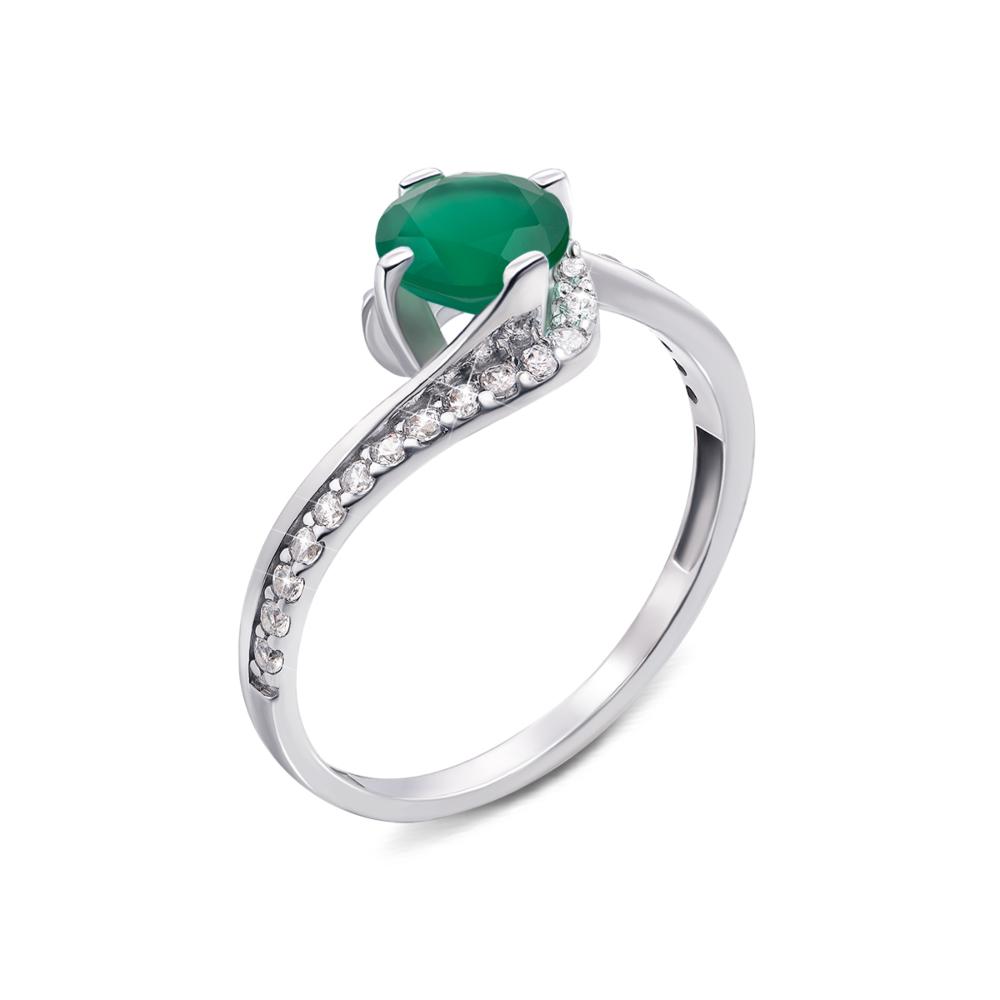 Серебряное кольцо с зеленым агатом и фианитами. Артикул 1668/9р