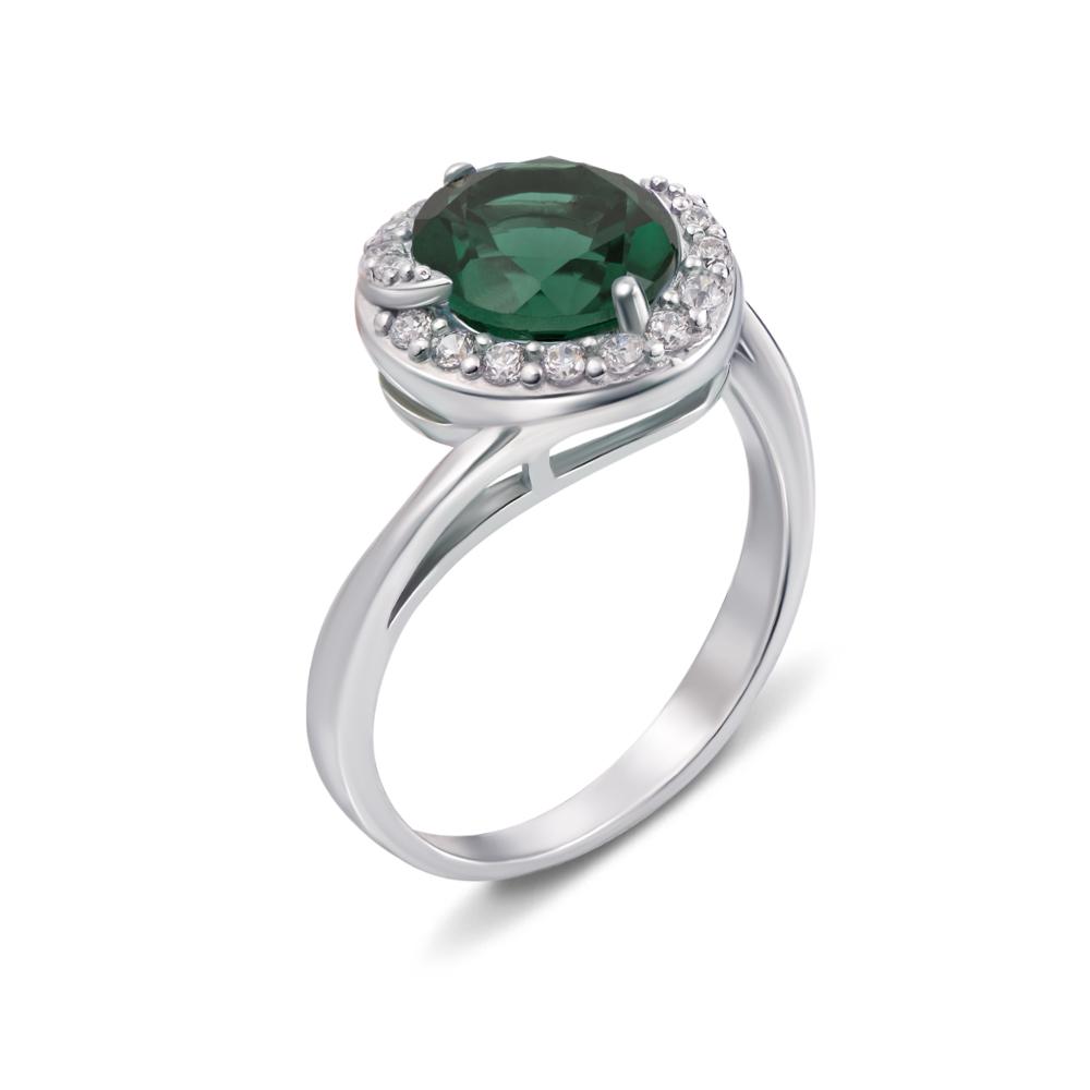 Серебряное кольцо с зеленым кварцем и фианитами. Артикул 1673/9р