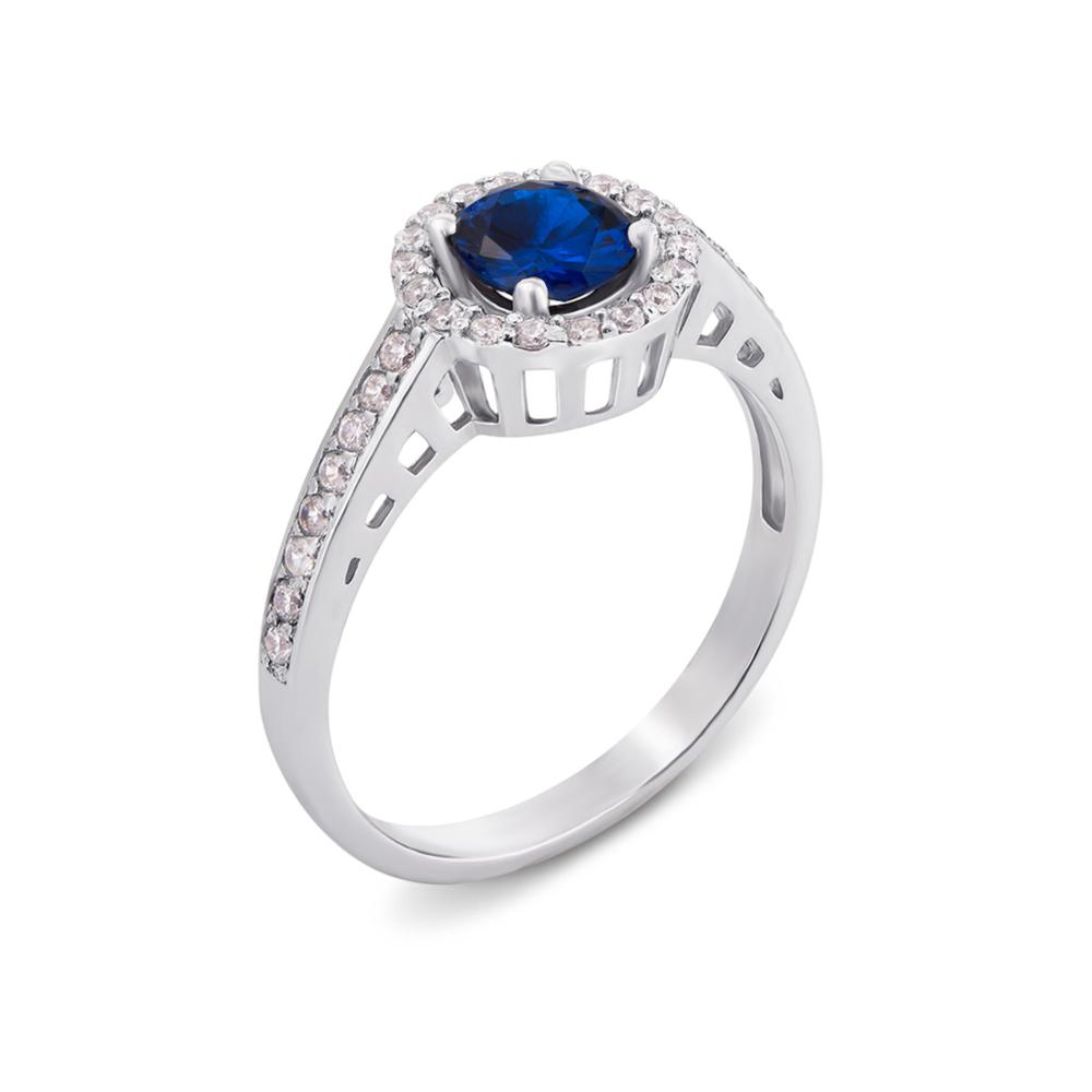 Серебряное кольцо с гидротермальным сапфиром и фианитами. Артикул 1691/9р