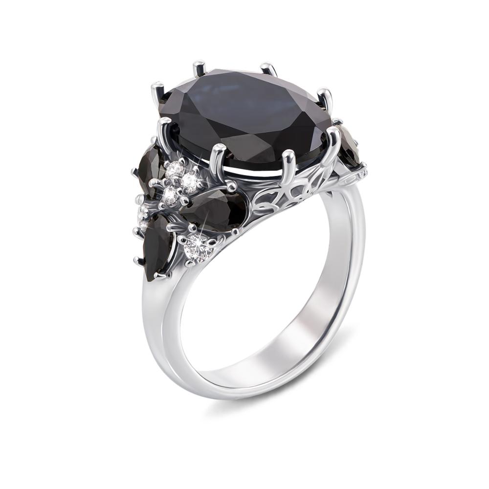 Серебряное кольцо с гидротермальным сапфиром и фианитами. Артикул 1807/9р