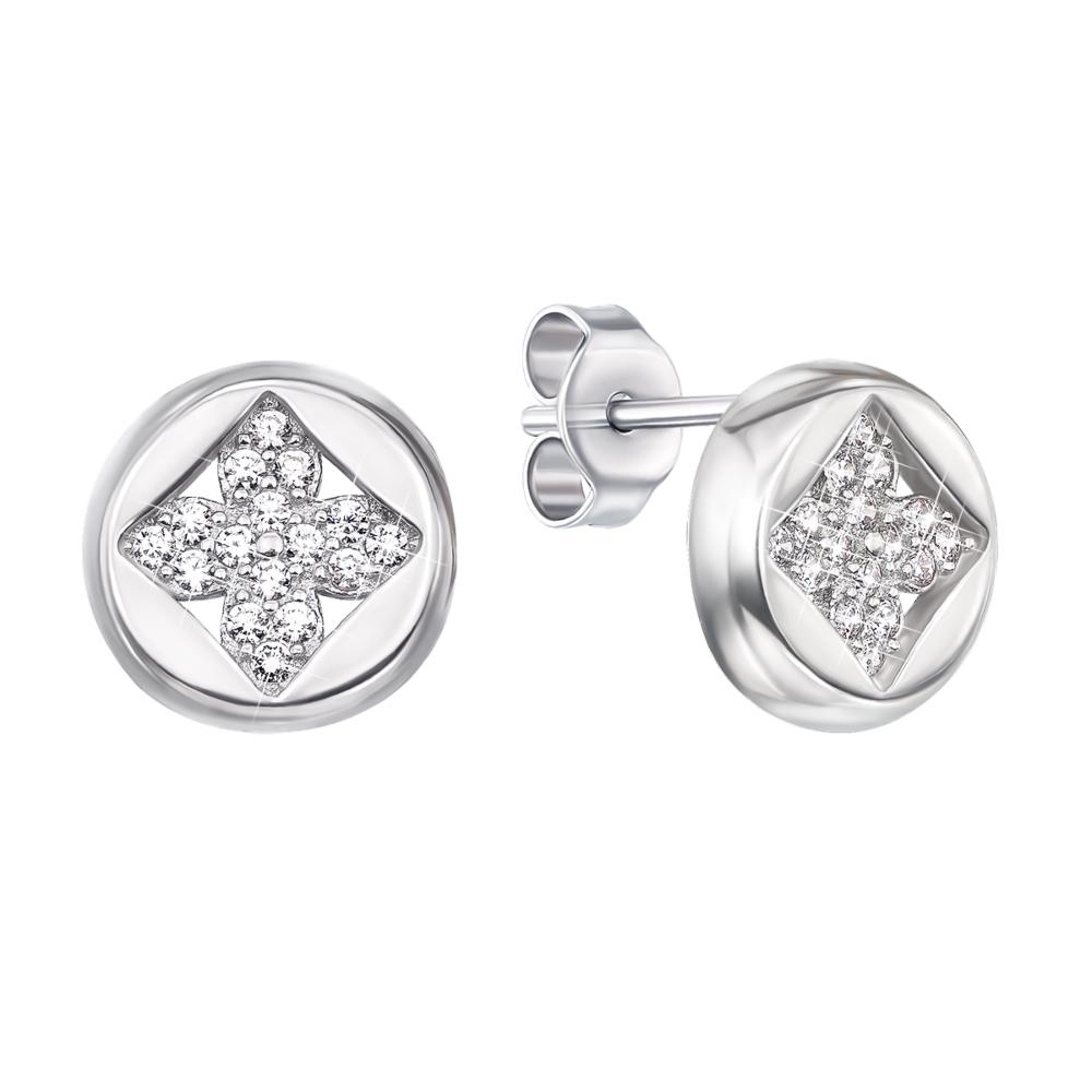 Серебряные пуссеты с фианитами. Артикул 1EA79551-E