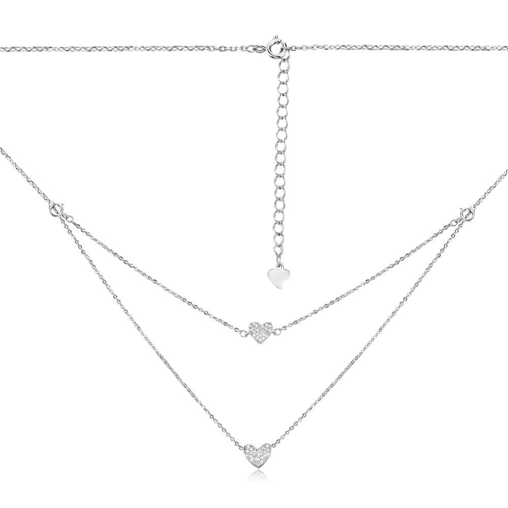 Срібне кольє «Серце» з фіанітами. Артикул 1NE52149-L/12/1