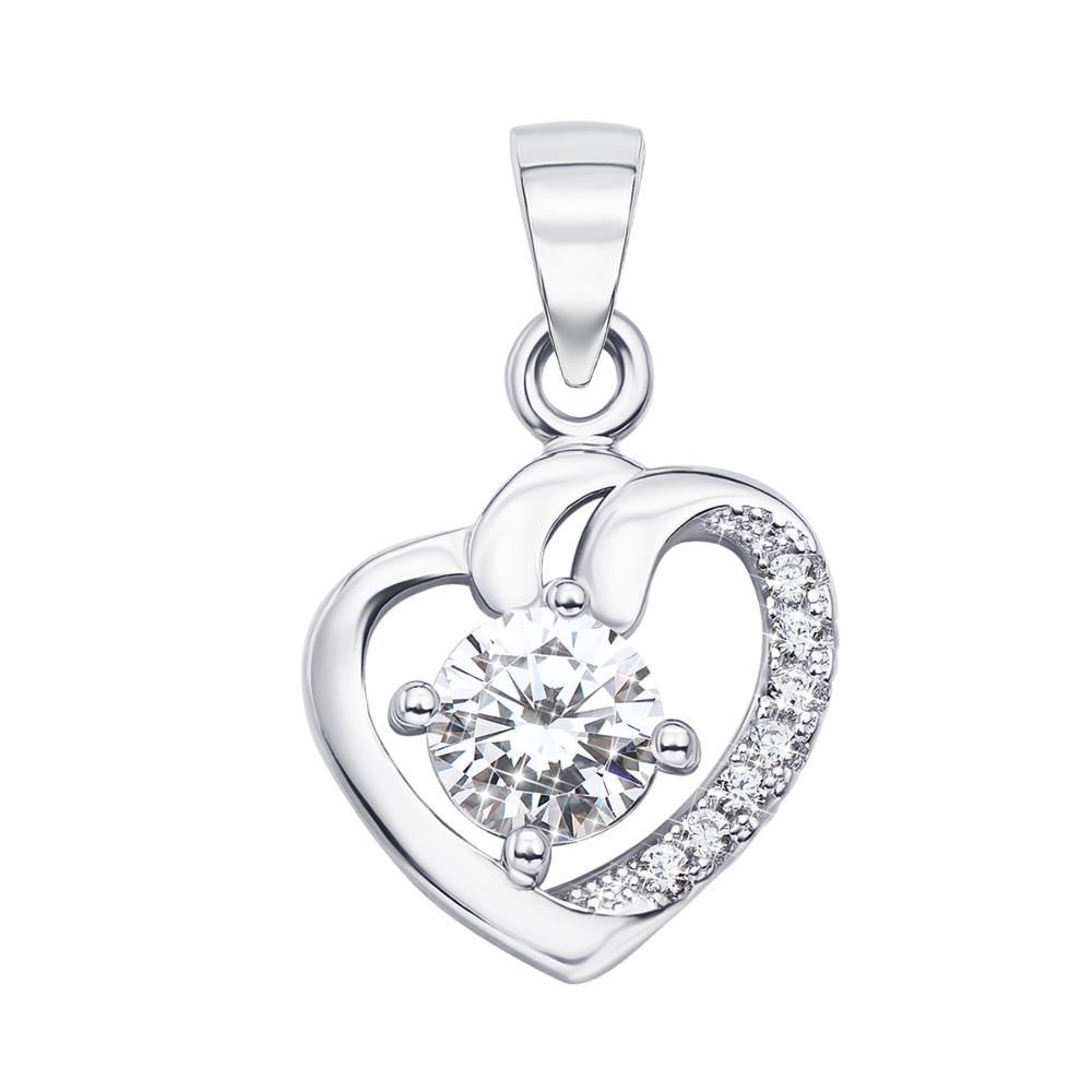 Срібна підвіска «Серце» з фіанітами. Артикул 1PE44464-P/12/1