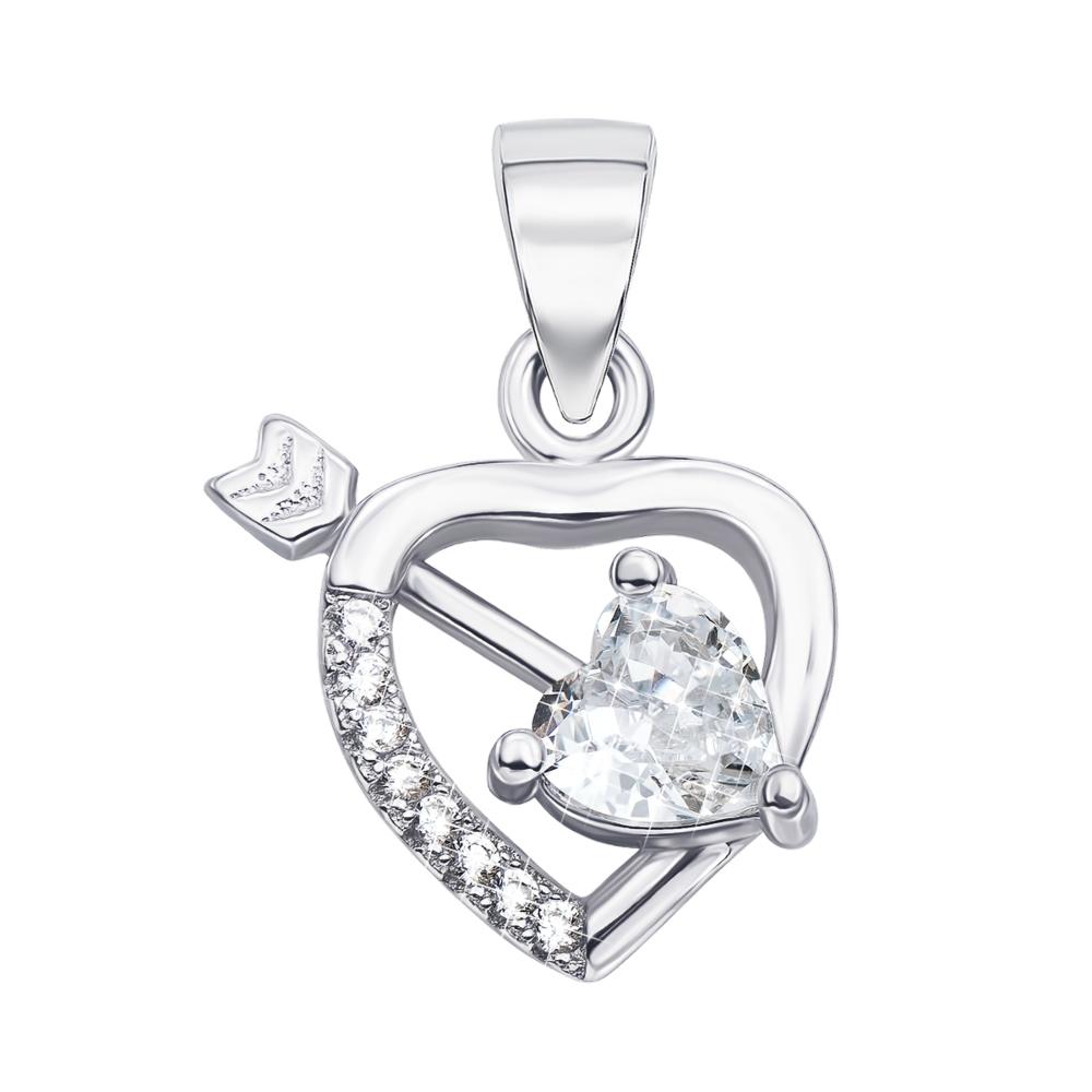 Серебряная подвеска «Сердце» с фианитами. Артикул 1PE45235-P