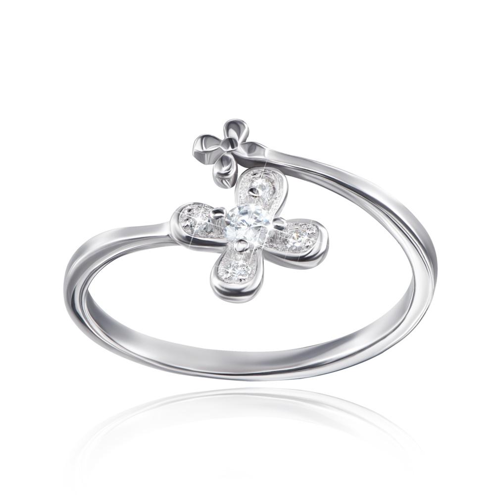 Серебряное кольцо «Цветок» с фианитами. Артикул 1RI63763-R/12/1