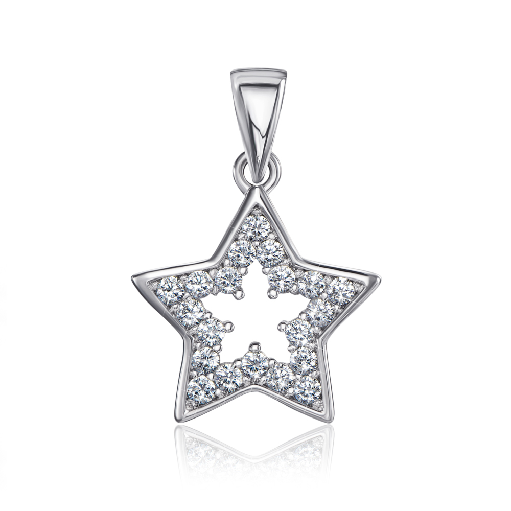 Серебряная подвеска «Звезда» с фианитами. Артикул 1SE62100-P-P/12/1