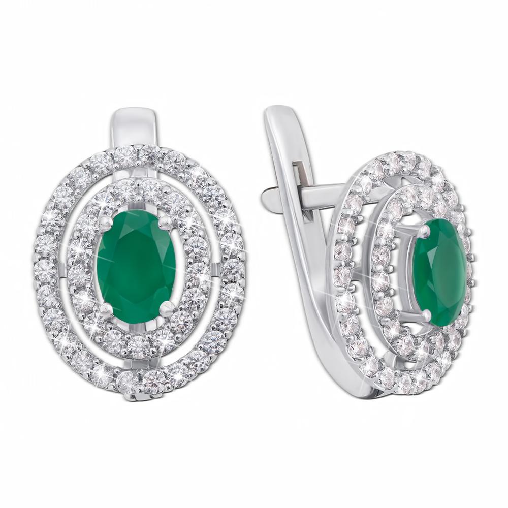 Срібні сережки з зеленим агатом та фіанітами. Артикул 2056/9р