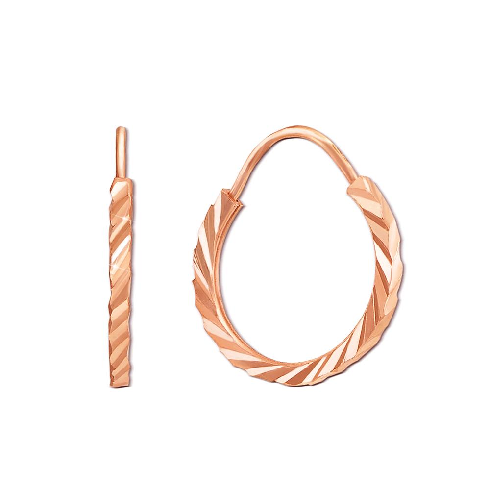 Золоті сережки-конго з алмазною гранню. Артикул 20810