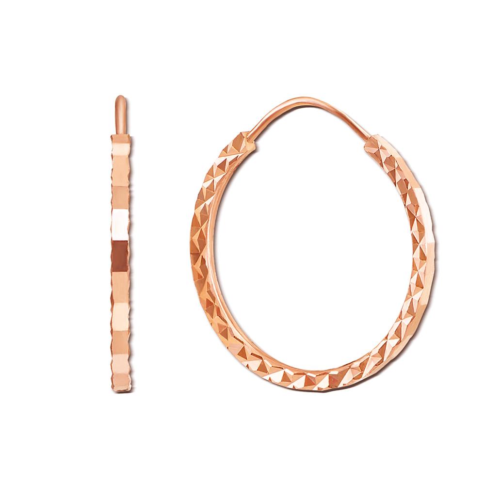 Золотые серьги-конго с алмазной гранью. Артикул 20860/2
