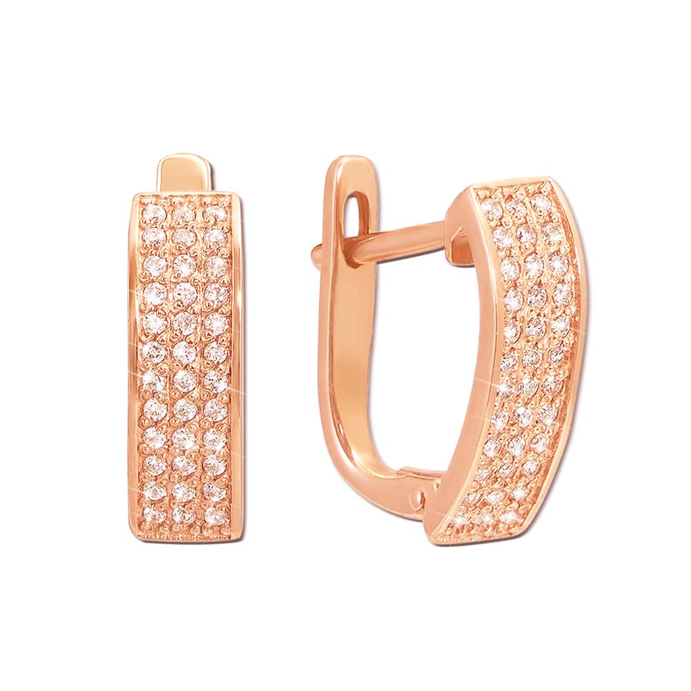 Золоті сережки з фіанітами. Артикул 21001 к