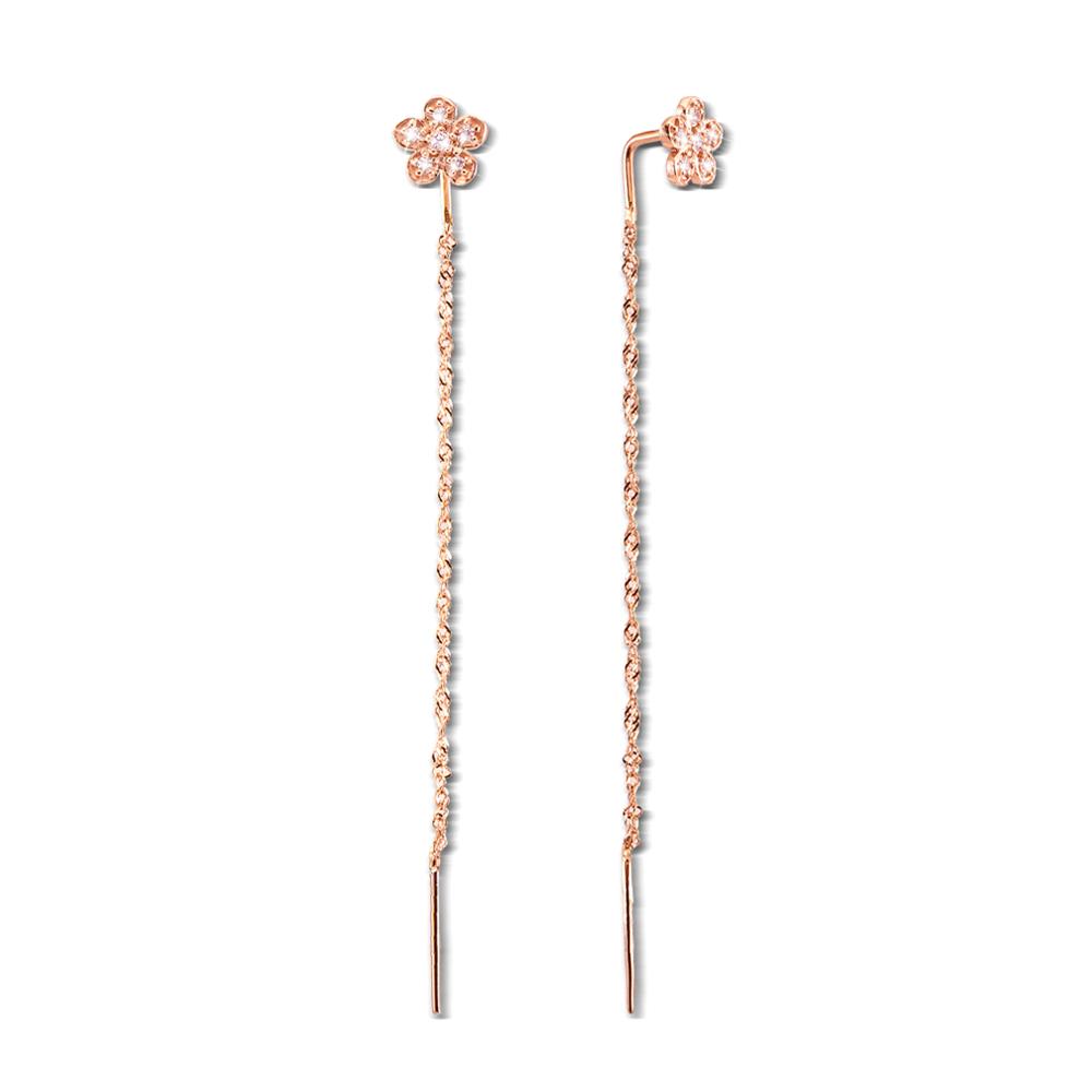 Золоті сережки-протяжки (продевки) з фіанітами. Артикул 21041