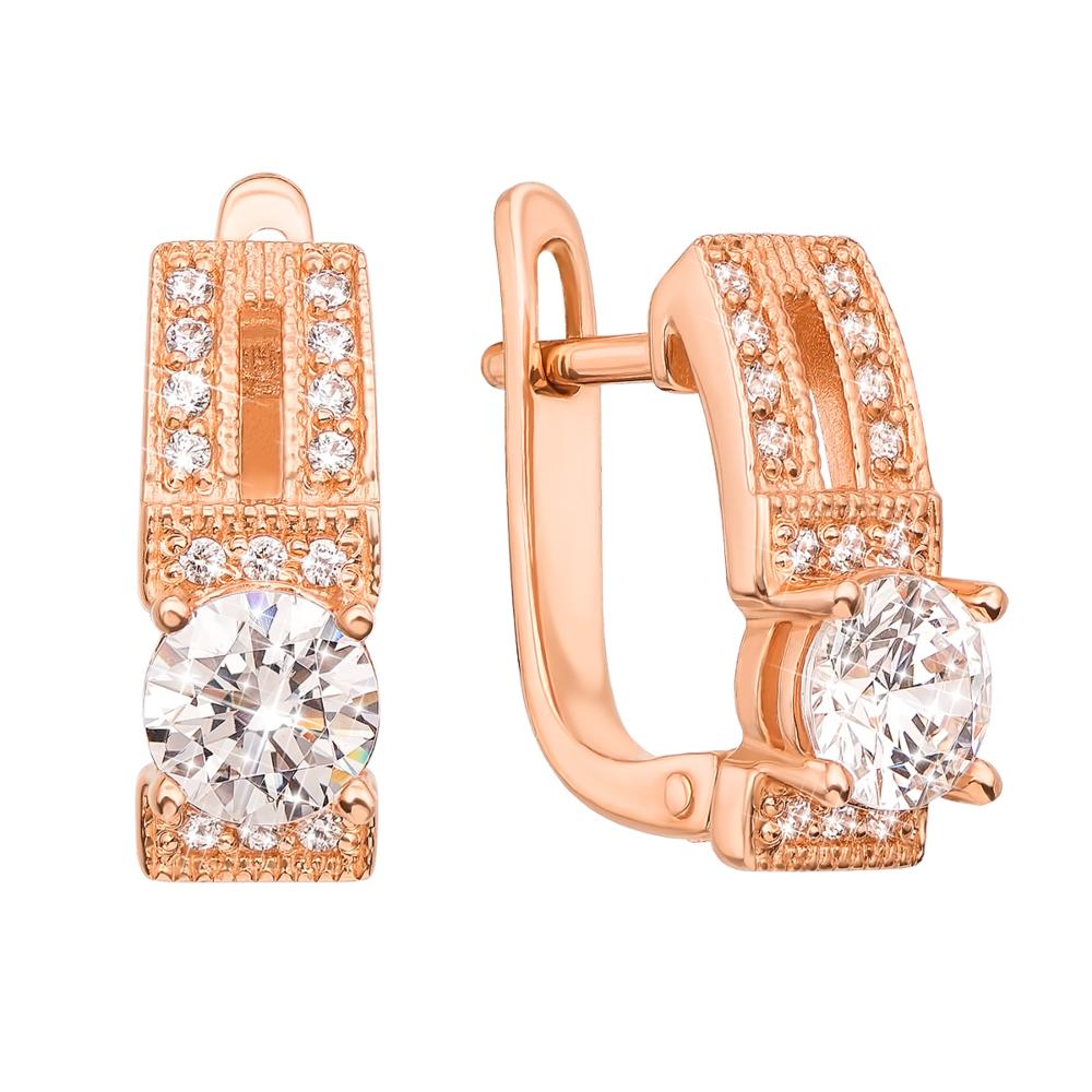 Золоті сережки з фіанітами Swarovski Zirconia. Артикул 21051/SW