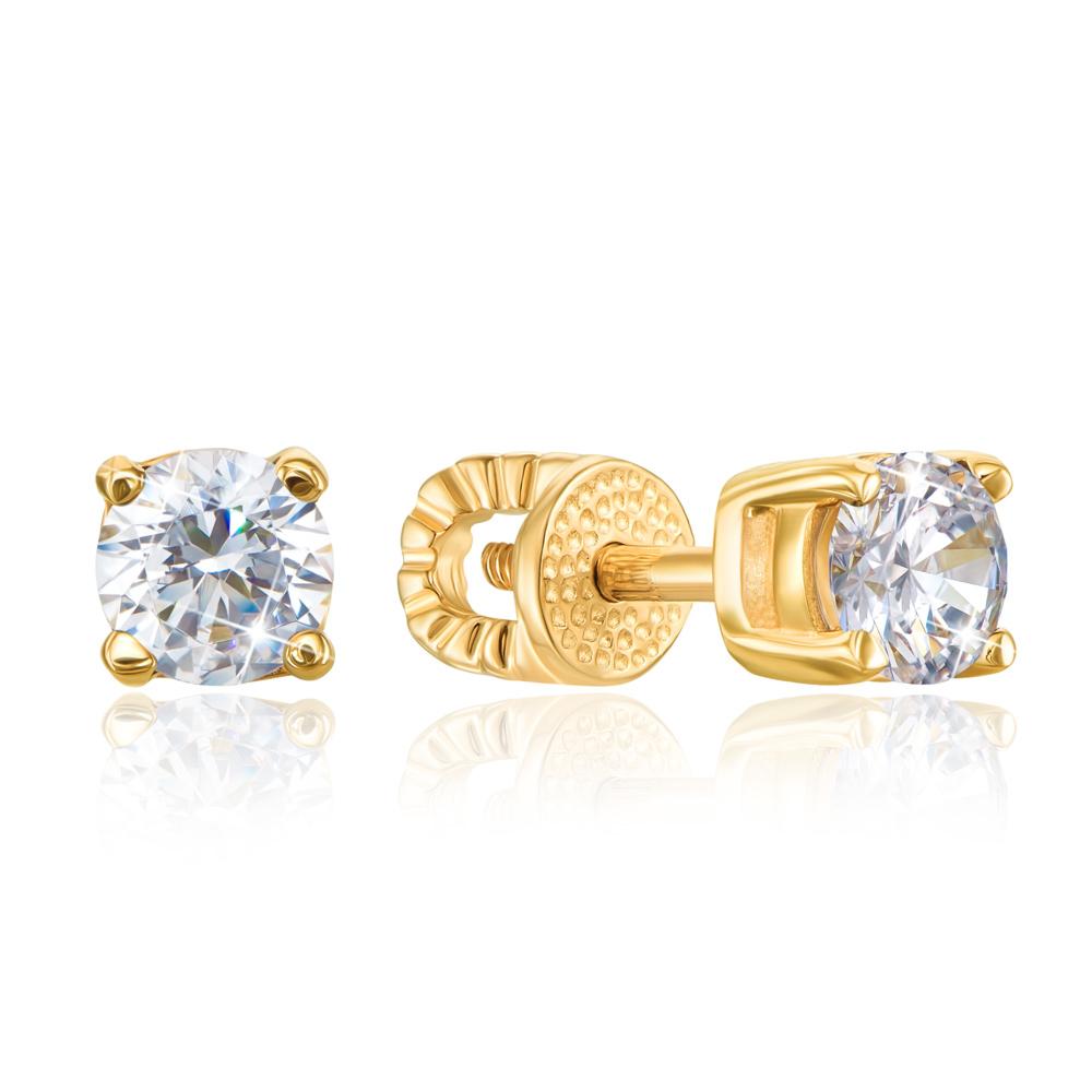 Золоті пусети з фіанітами. Артикул 21058/eu