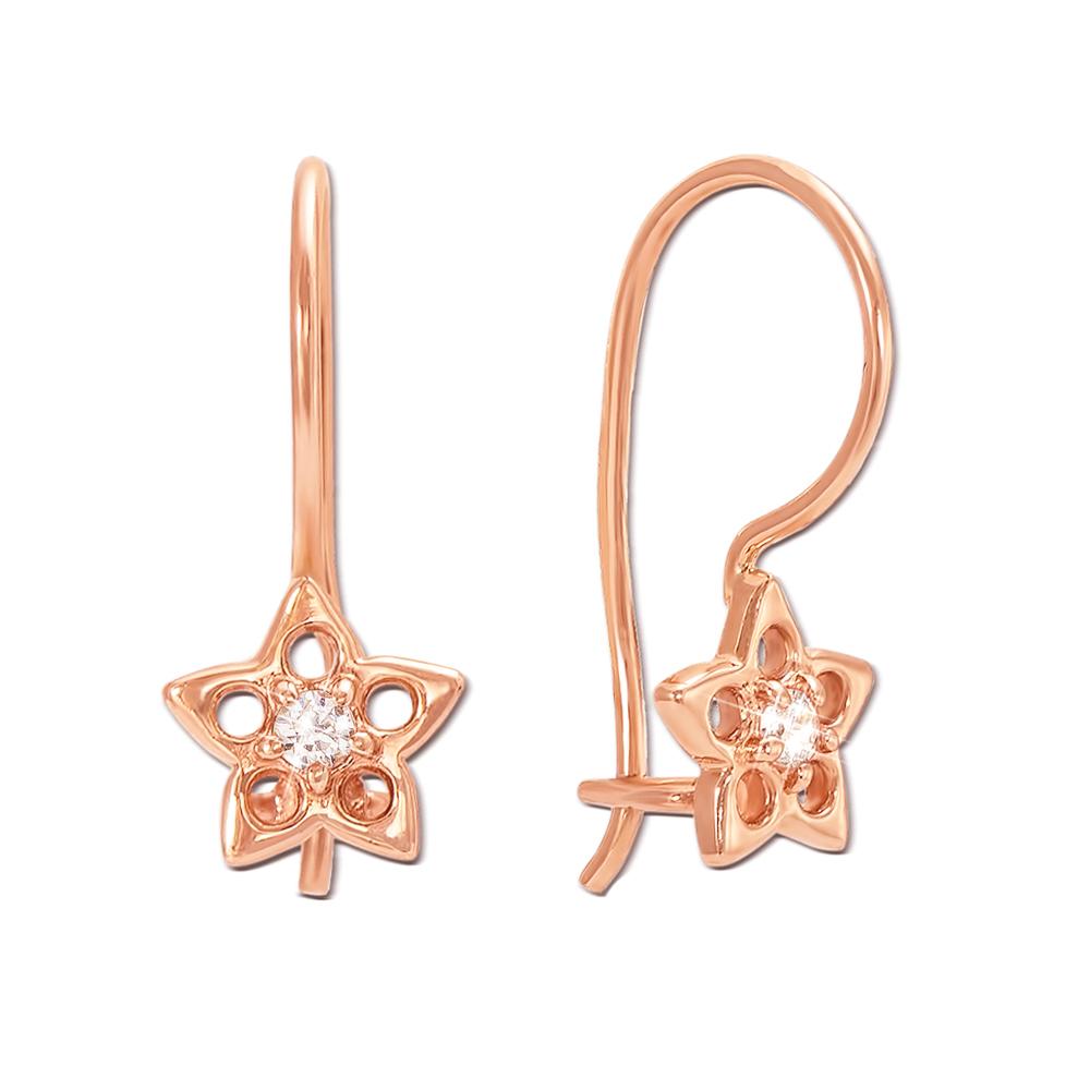 Золоті сережки з фіанітами. Артикул 21062