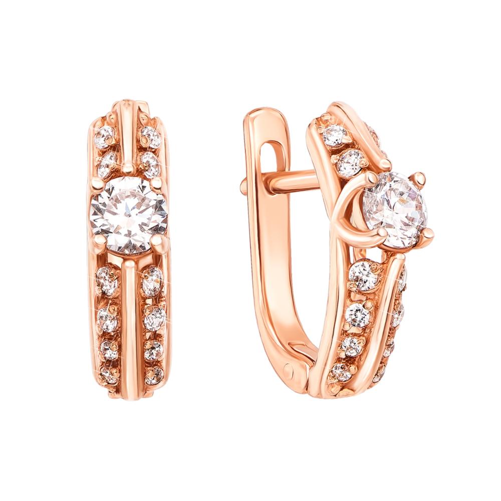 Золоті сережки з фіанітами. Артикул 21071 кп