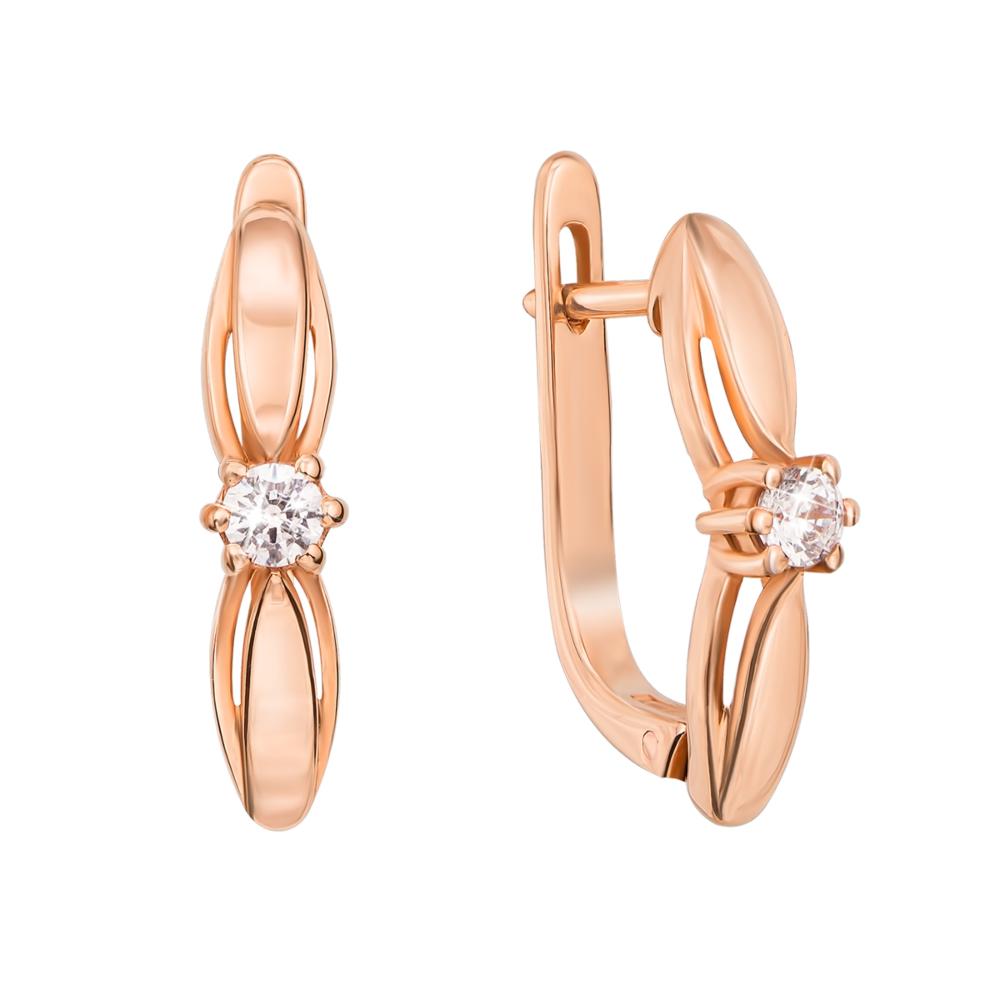 Золоті сережки з фіанітами. Артикул 21104 к