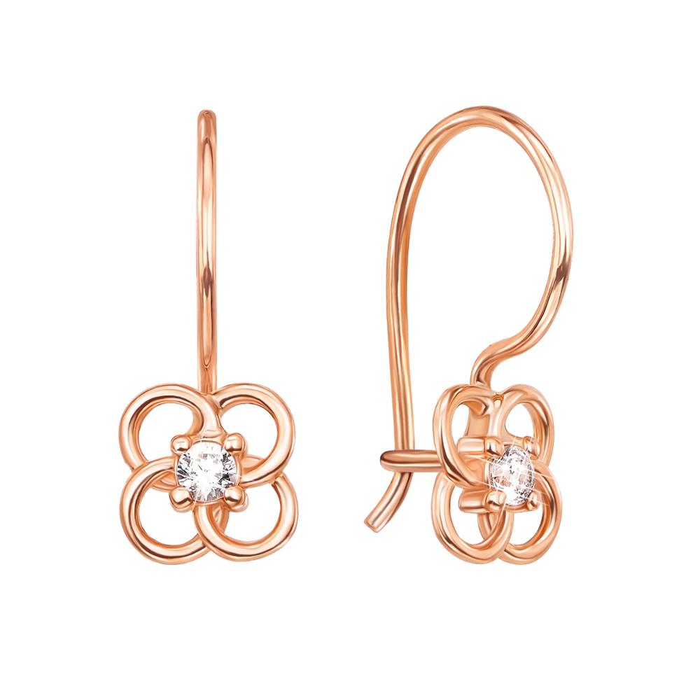 Золоті сережки з фіанітами. Артикул 21108