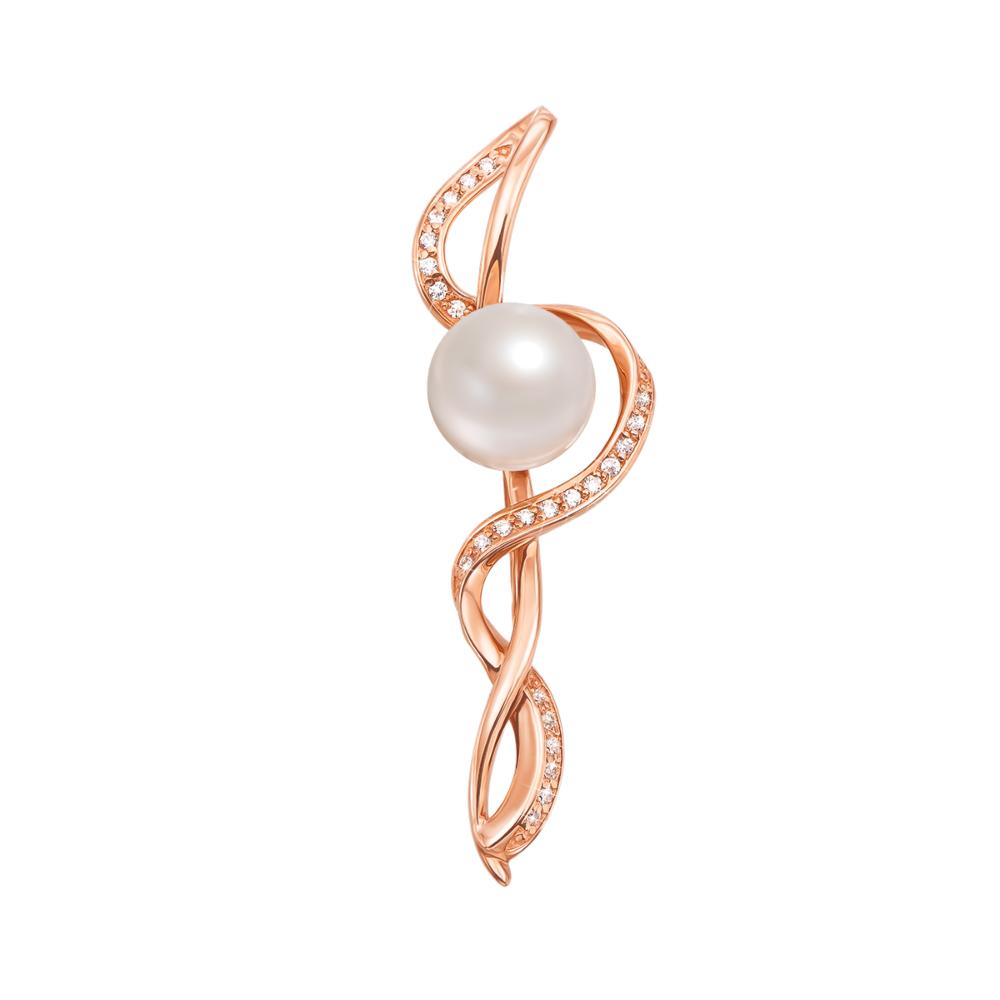 Золота брошка з перлами і фіанітами. Артикул 4094