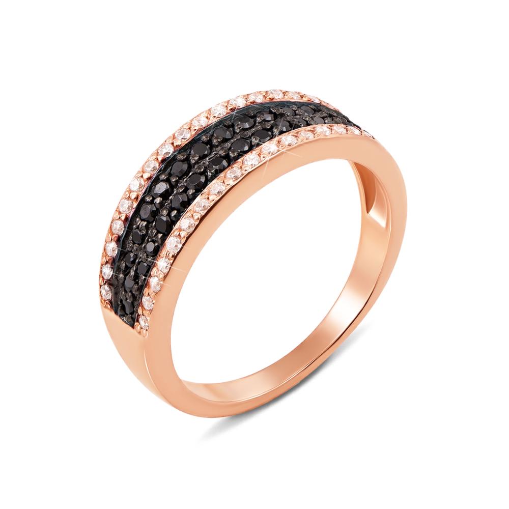 Золотое кольцо с фианитами. Артикул 11986/ч с