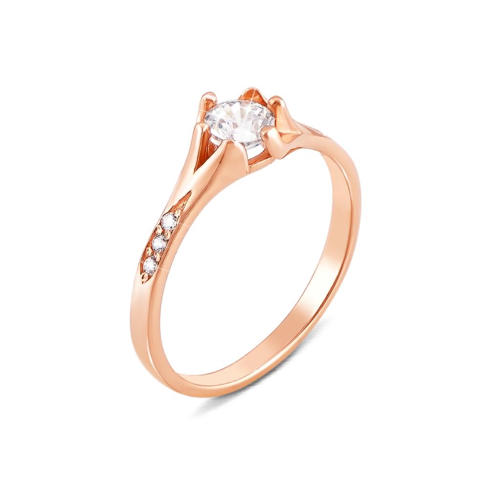 Золотое кольцо с фианитами. Артикул 12051 с