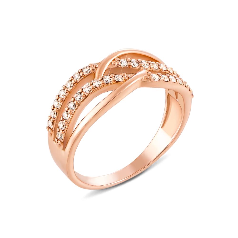 Золотое кольцо с фианитами. Артикул 12053