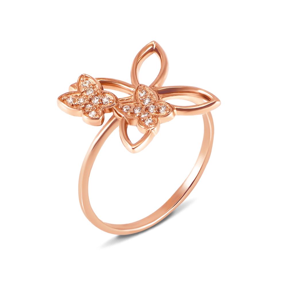 Золотое кольцо «Бабочка» с фианитами. Артикул 12057 с