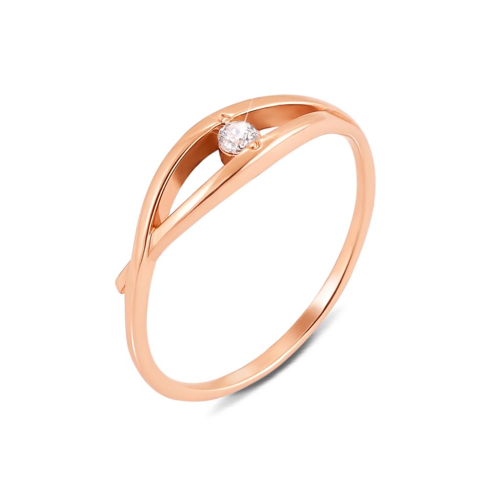Золотое кольцо с фианитом. Артикул 12060