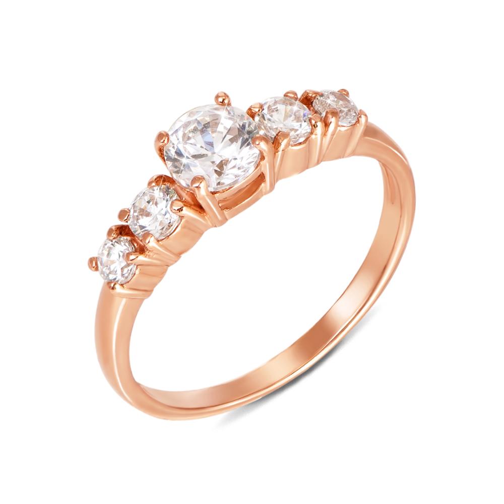 Золотое кольцо с фианитами. Артикул 12061