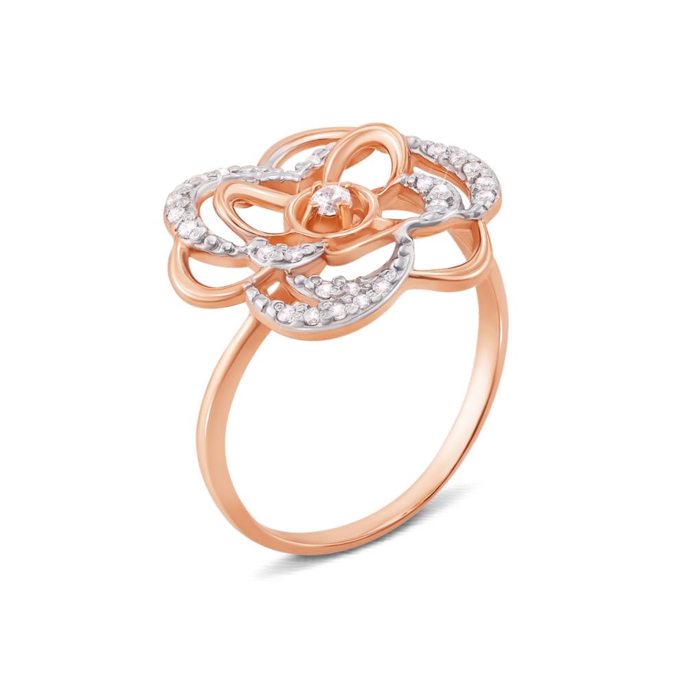 Золотое кольцо с фианитами. Артикул 12882
