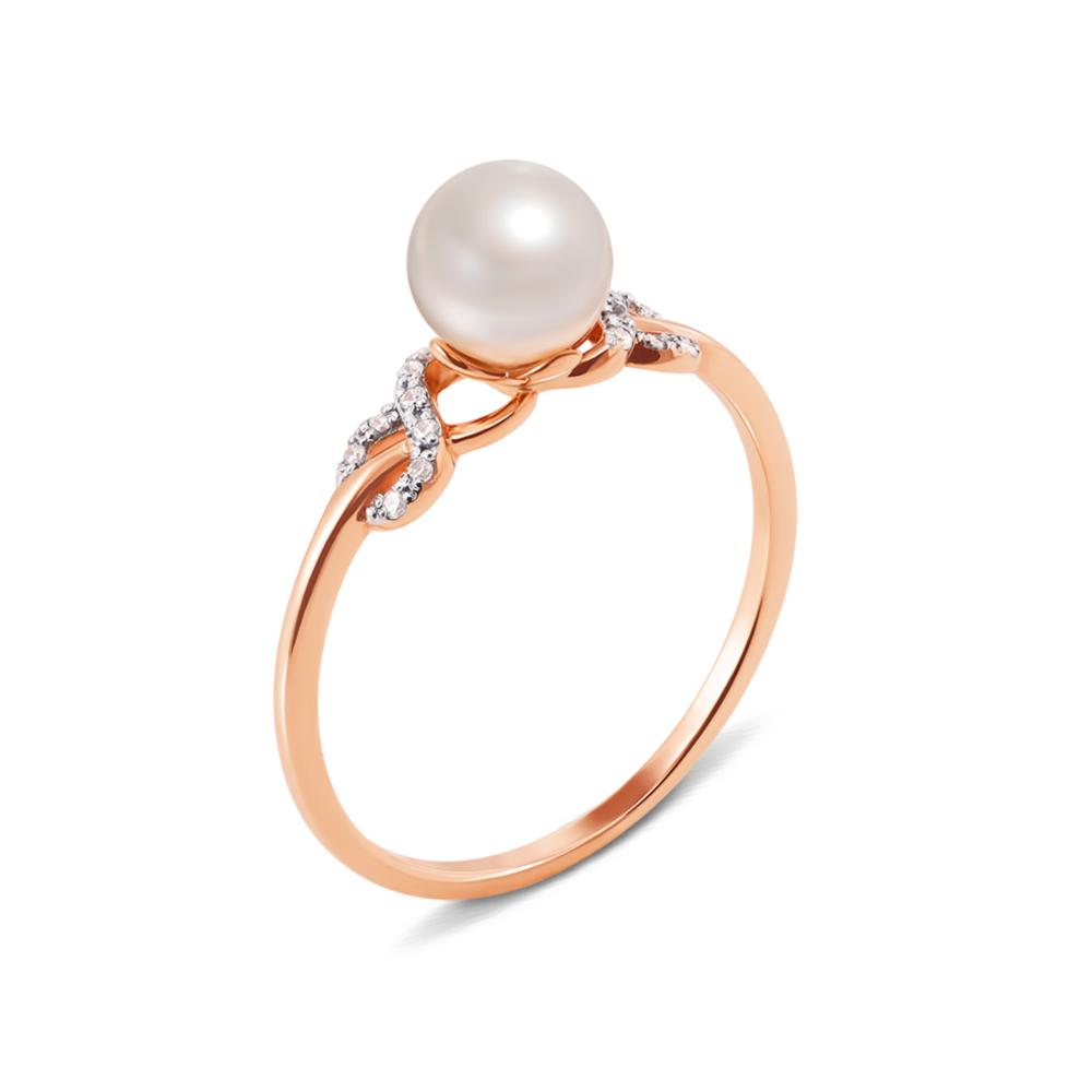 Золотое кольцо с жемчужиной и фианитами. Артикул 13031