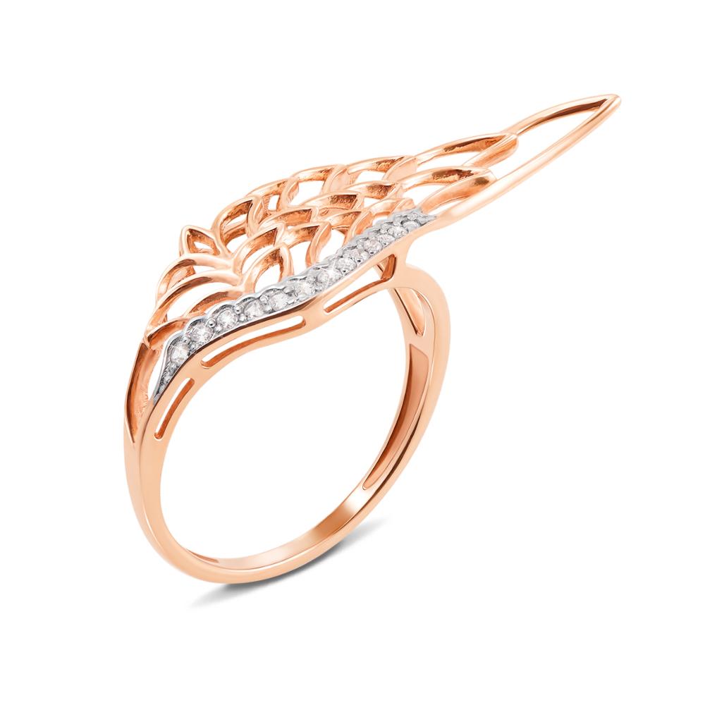 Золотое кольцо с фианитами. Артикул 13033 сп