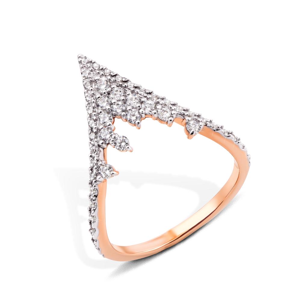Фаланговое золотое кольцо с фианитами (13157/01/1/73)