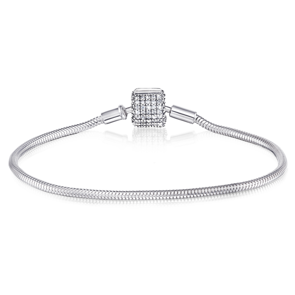 Срібний браслет для намистин з фіанітами. Артикул H2694-B/12/1