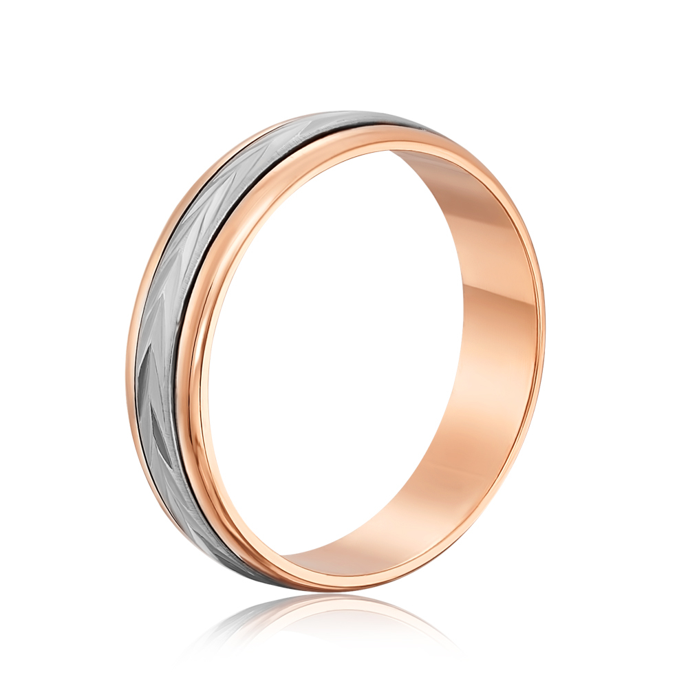 Обручальное кольцо комбинированное. Модель «Антистресс». Артикул 1051/1