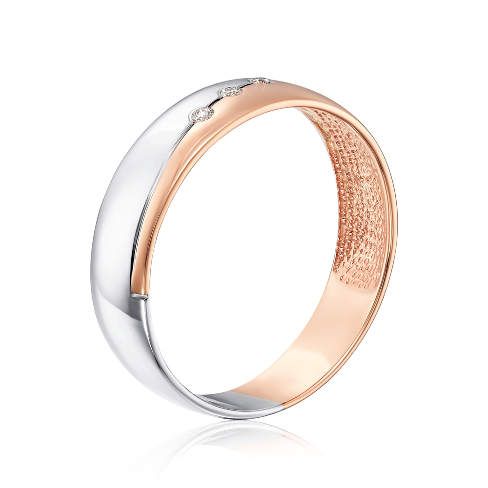 Обручальное кольцо с бриллиантами. Артикул 1019/1.5