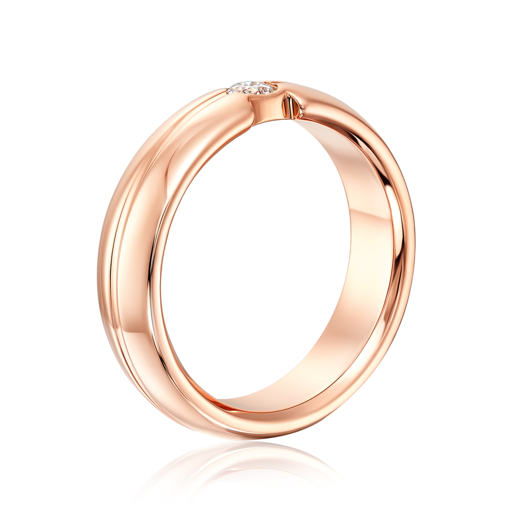 Обручальное кольцо с бриллиантом. Артикул 10001/3