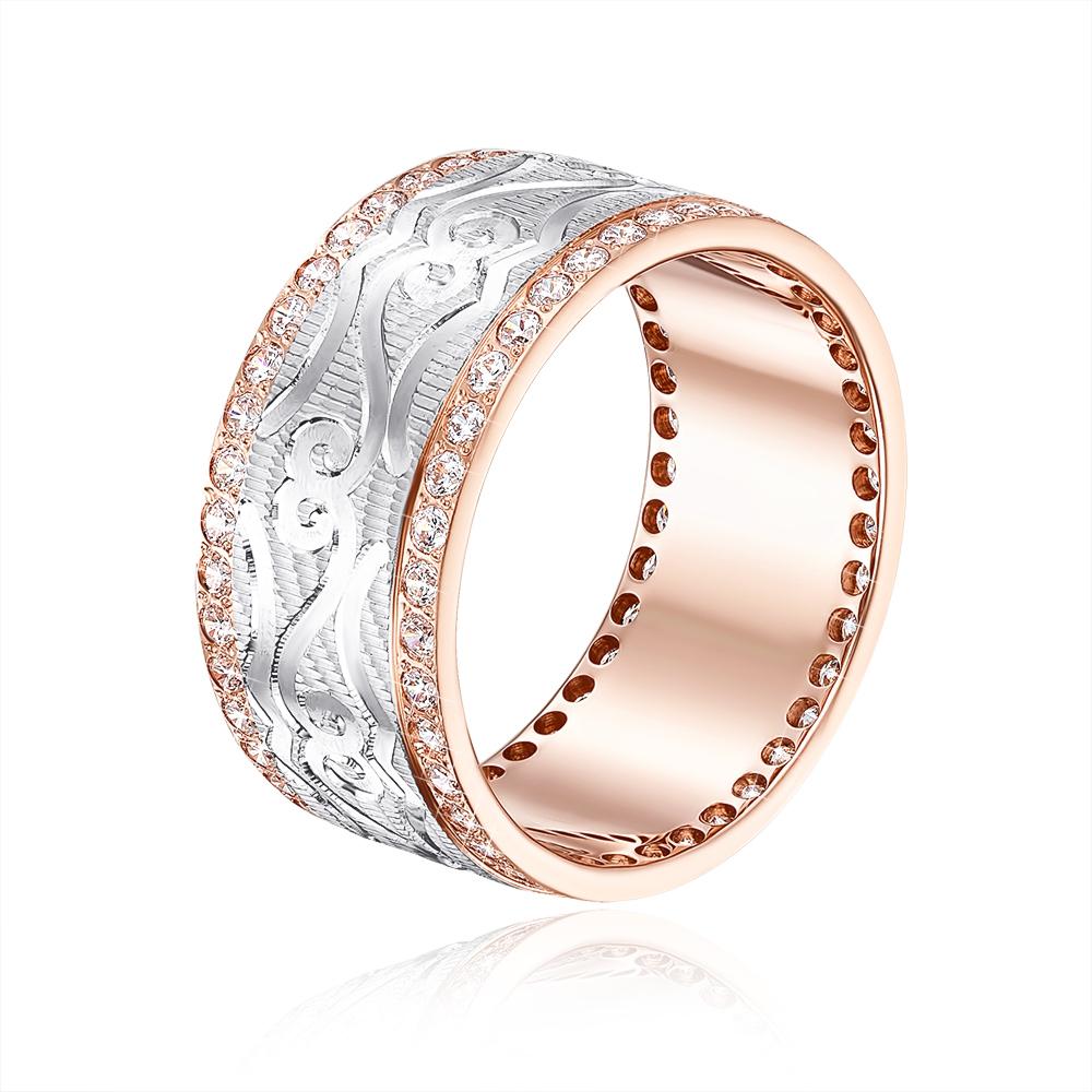 Обручальное кольцо с фианитами. Артикул 1085/1