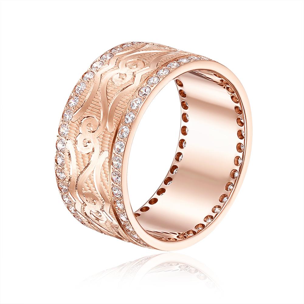 Обручальное кольцо с фианитами. Артикул 1085