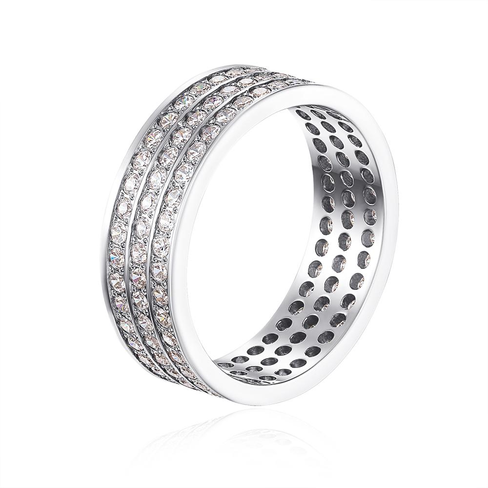Обручальное кольцо с фианитами. Артикул 1084б