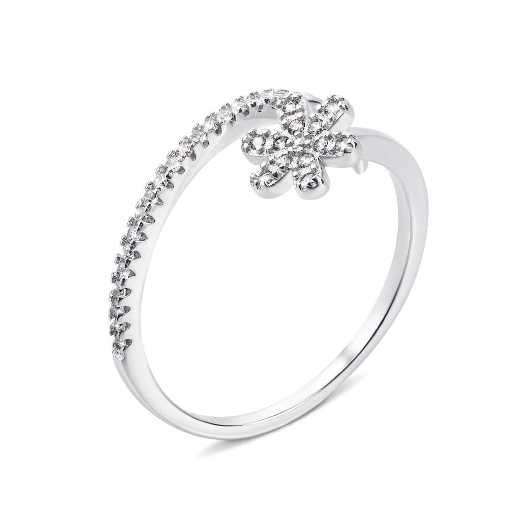 Срібна каблучка Квітка з фіанітами (1RI57843/0-R)
