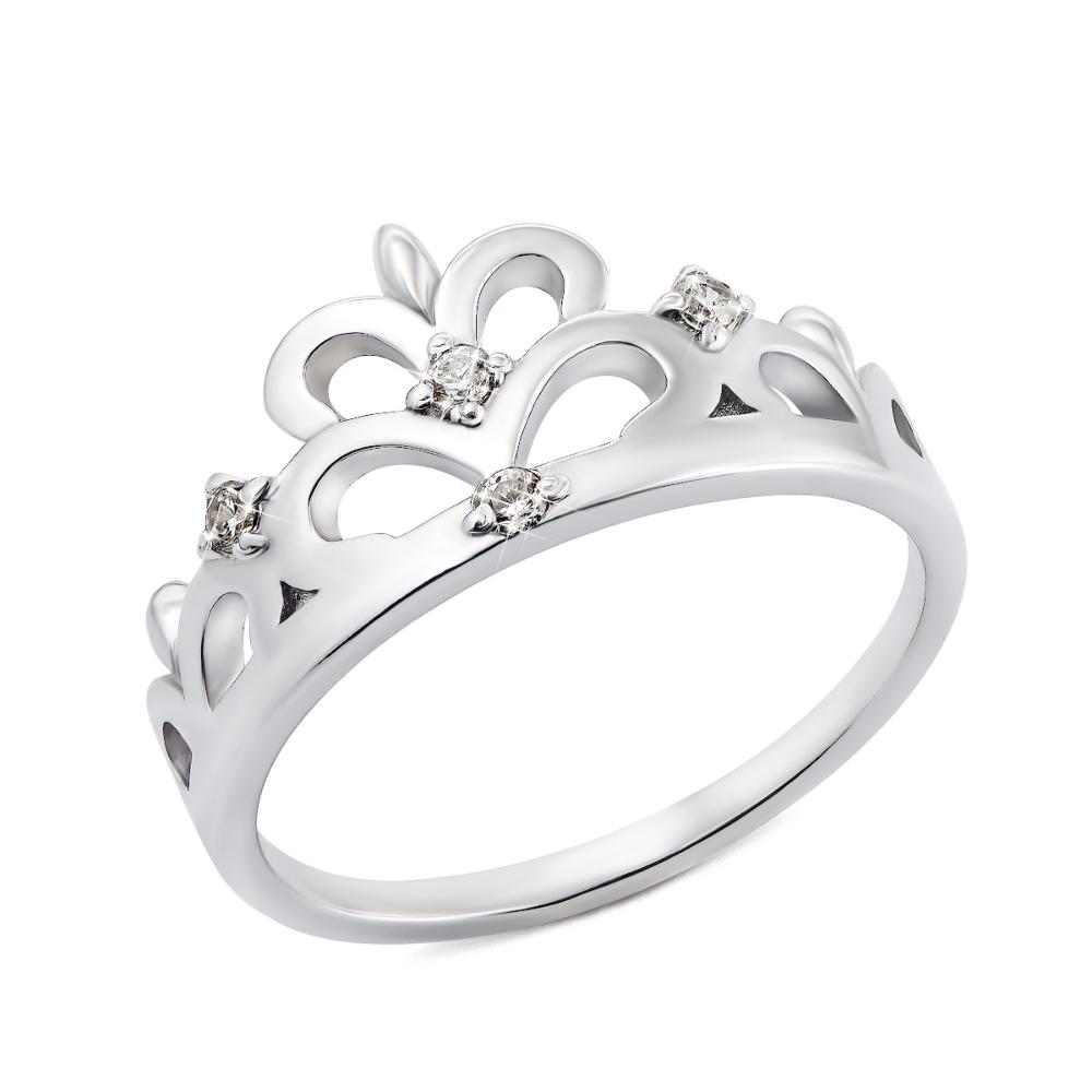 Срібна каблучка Корона з фіанітами (00282/12/1/147 (с00282)