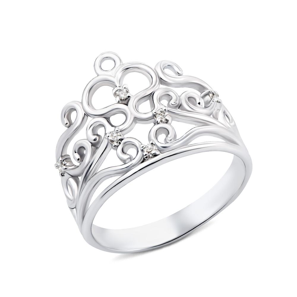 Срібна каблучка Корона з фіанітами (00420/12/1/13)