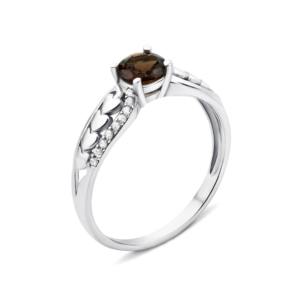 Серебряное кольцо с дымчатым кварцем и фианитами (1921/9р)