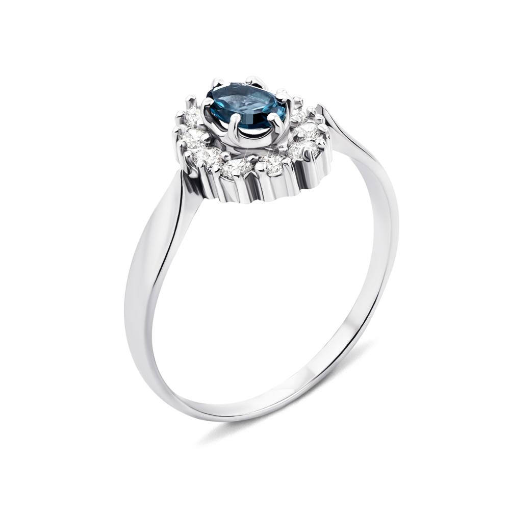 Серебряное кольцо с лондон-топазом и фианитами (1598/9p)