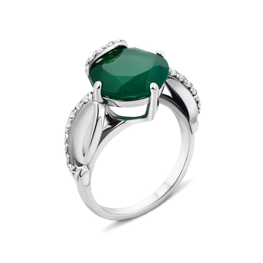 Серебряное кольцо с зеленым агатом и фианитами (1725/9р)