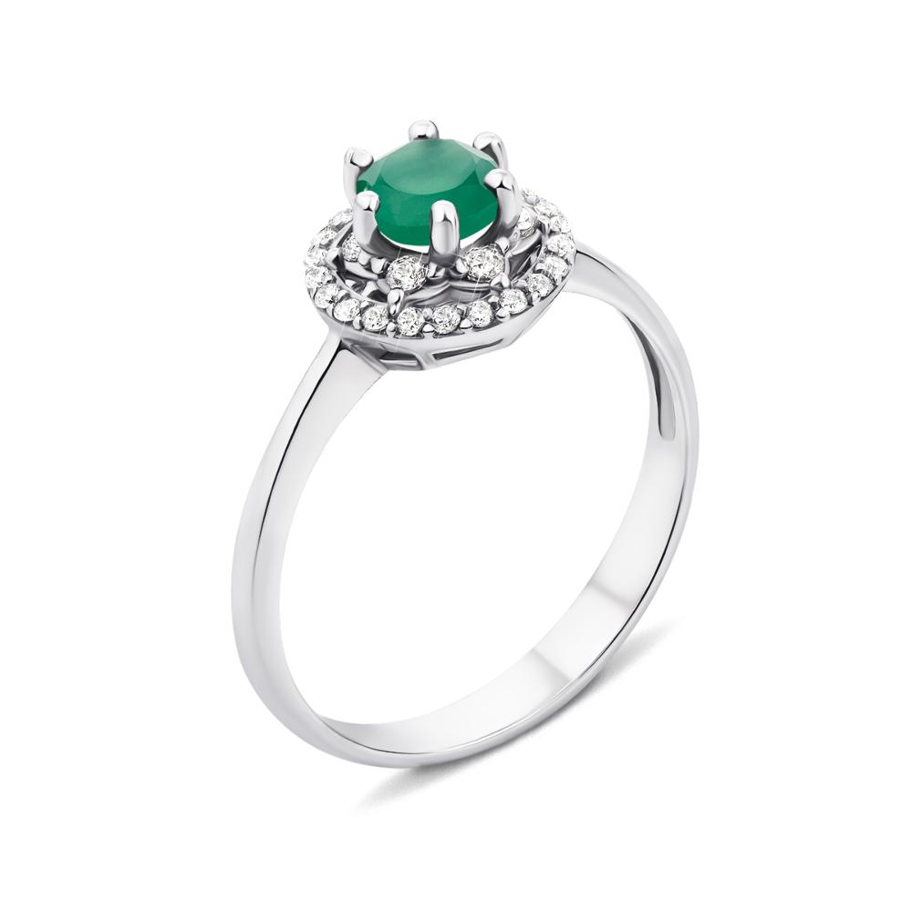 Серебряное кольцо с зеленым агатом и фианитами (1727/9р)