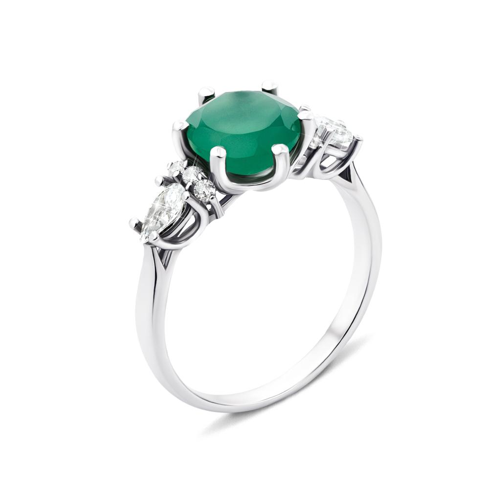Серебряное кольцо с зеленым агатом и фианитами (1964/9р)