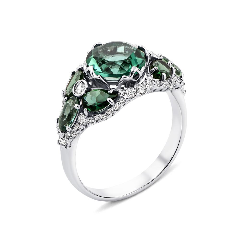 Срібна каблучка з зеленим кварцом і фіанітами (1188/1р-QGR)